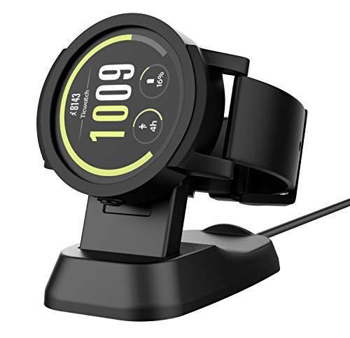 MoKo Ladedock für Ticwatch S, Tragbare Ladestation Ladekabel Ständer, Magnetisches Ladegerät Halter mit USB Kable für Ticwatch S/Ticwatch E, Schwarz