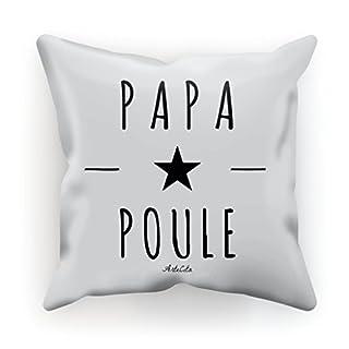 Kissen bedruckt aus Baumwolle mit Füllung–30x 30cm oder 45x 45cm–Papa Henne, Baumwolle, weiß, 45x45cm