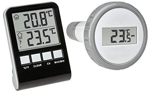 TFA Dostmann 30.3067.10 Palma Funk-Poolthermometer (anthrazit mit Batterien)