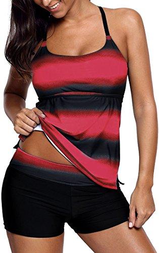 EUDOLAH Damen Mehrfarbig X-Back Tankini mit Hotpants Shorts Bademode mit Bügeln UV Schutz (M (EU 36-38), rot)