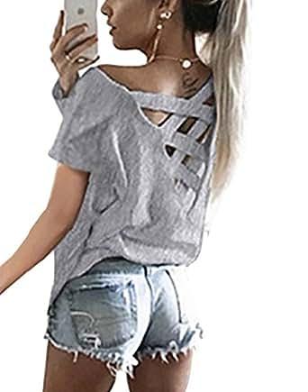 Yieune V Ausschnitt T-Shirt Damen Oversized Sommer Kurzarm Oberteile Bluse Mode Lose Hemd Party Tops (Grau, S)