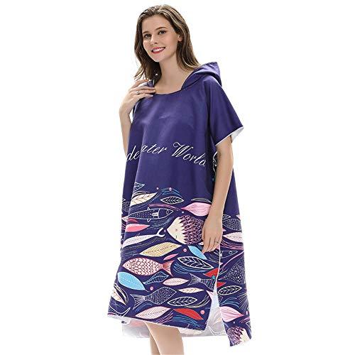 Wagsiyi Serviette de Plage Robes de Surf en Microfibre et Cape de Protection Solaire pour Plage avec Poncho à Capuchon à séchage Rapide, idéale pour Changer de Costume de plongée Peignoir à Capuche