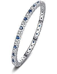 JewelryPalace Anillo de boda Exquisito Espinela azul creado en palta de ley 925
