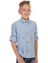 Isar Trachten Trachtenhemd für Kinder, kariert , aus 100% Baumwolle, Krempelärmel , sehr pflegeleicht (Farbe wählbar), Farben:hellblau;Größen:116