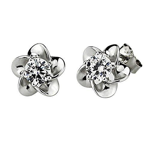 Kangqifen Schmuck Damen Ohrstecker,2 PCS 925 Silber Plattiert Plum Blume Ohrringe (Cc Ohrringe Modeschmuck Chanel)