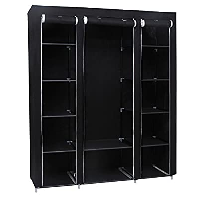 Songmics Canvas Wardrobe Wardrobes Bedroom Furniture Storage Black 180 x 150 x 45 cm LSF03H - cheap UK wordrobe store.