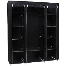 Songmics Armario Closet organizador Plegable Textil 175 x 150 x 45 cm Color Negro LSF03H