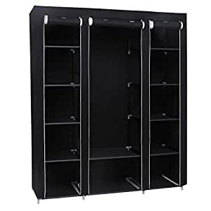 songmics non woven fabric wardrobe bedroom furniture storage 175 x 150 x 45 cm black lsf03h. Black Bedroom Furniture Sets. Home Design Ideas