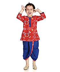 Little pocket store Red And Blue Cotton Printed Dhoti And Kurta Set