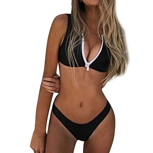 Damen Badeanzüge 36dd (Damen Tankini Mit Shorts,Frauen Banner Bandage Bikini Set Push-Up Brasilianische Bademode Badeanzug Bademode Von Jaminy (Schwarz, L))