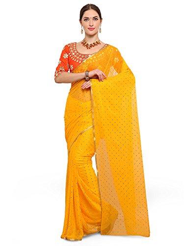 Saree Mall Women's Chiffon Saree With Blouse Piece (Latest DesignTika4001_Gop1004_Yellow)