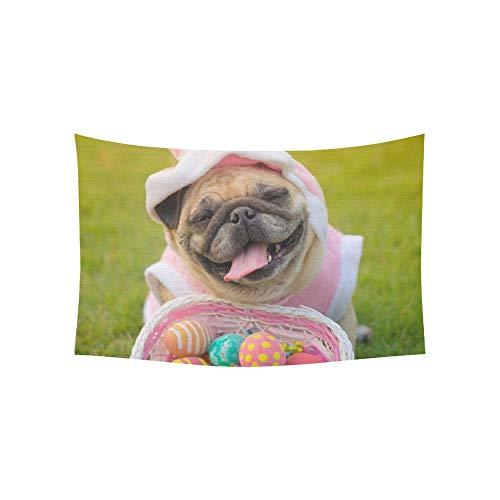 Ein Mops Trägt Kostüm - JOCHUAN Tapisserie Kitz Mops Hund trägt Kaninchen Kostüm Wandteppiche Wandbehang Blume psychedelischen Wandteppich Wandbehang indischen Wohnheim Dekor für Wohnzimmer Schlafzimmer 60 X 40 Zoll