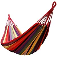 Signstek Portable 2 Person Outdoor Camping Garden Beach Travel Canvas Hammock (Red)