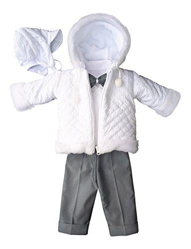 SET Winter Taufanzug Festanzug Jacke Winterjacke Hose Hemd Taufe Baby Anzug, Adam, Gr.62, weiß-grau