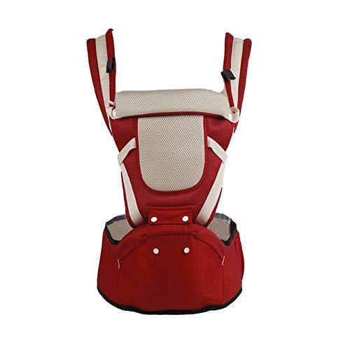 X&hui Multifunktionale Babytrage Sommer atmungsaktive Baumwolle Schnalle Kissen im Freien schläfrig Mesh Unterstützung schräge Taille Hocker Tasche 0 bis 36 Monate 25 kg,Red