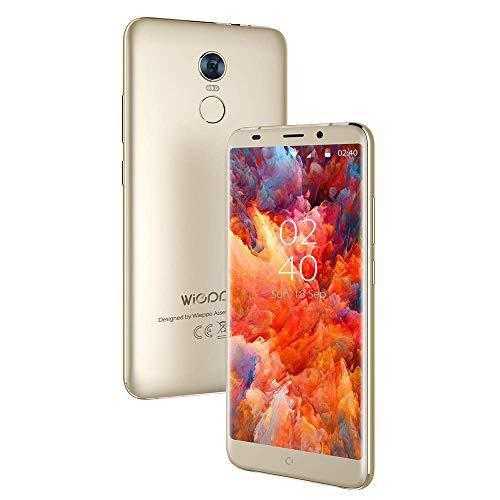 "4G günstige Handy ohne vertrag Android 7.0, 2GB+16GB, 5.7"" mit 18:9 Bildschirm, Kamera 5MP+13MP, HD 1440 * 720 Display, 2970mAh Akku, Fingerabdruck, Wieppo S8 Dual SIM Handy (Gold)"