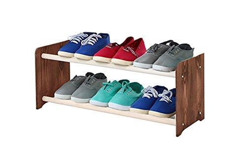 Schuhregal Schuhschrank Schuhe Schuhständer RBS-2-65 (Seiten dunkelbraun, Stangen in der Farbe...
