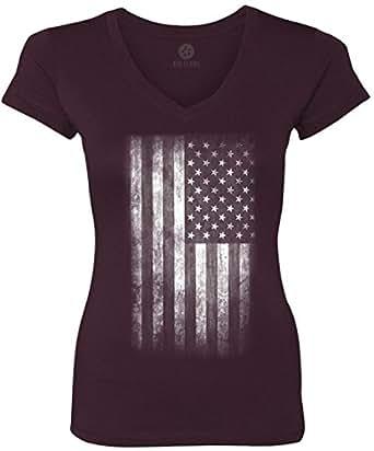 Big texas faded american flag white women 39 s short sleeve for Texas tee shirt company