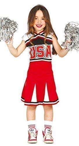 Mädchen-Rot American Cheerleader aus aller Welt USA Kostüm Kleid Outfit 5-12 Jahre - Rot, 5-6 - Kostüme Aller Aus Welt