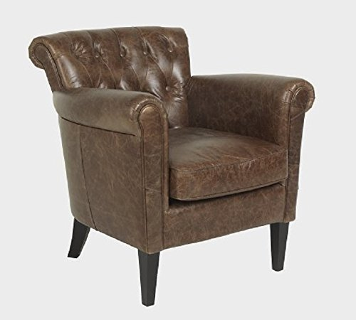 Luxus Sessel, Stuhl Chester Hohe Qualität Leder Texas braun