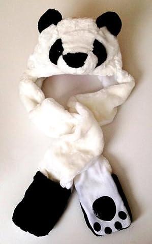 Panda Bear Long Animal Faux Fur Head Trapper Hat Hood