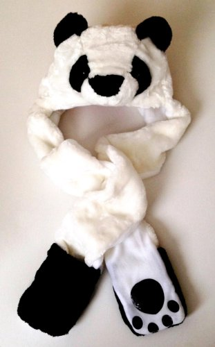 Panda Bear Long Animal Faux Fur Head Trapper Hat Hood / Scarf / Snood / Gloves all in one Ladies / Men / Kids / Children by Fashion Animal combo (Lady Trapper)
