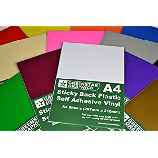 GREENSTAR GRAPHICS A4 Self Adhesive Vinyl Sheets x 20 (Sticky Back Plastic) For Hobbies & Crafts. Cut by Hand or with any Craft Cutter. For Silhouette Cameo/Curio/Portrait/Robo/Scan n Cut