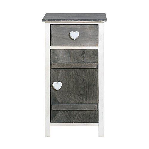 Rebecca srl armadietto comodino mobile bagno 1 cassetto 1 anta amore legno grigio shabby chic arte povera cucina camera (cod. re4364)