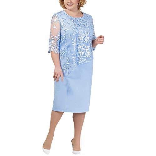 Plus Size Dresses for Women Frauen GroßE GrößE Elegante Mutter Der Braut Dress Mode Spitze Sheer 1/2 HüLse Feste Party Midi Kleid (XL, Ya_Blau)