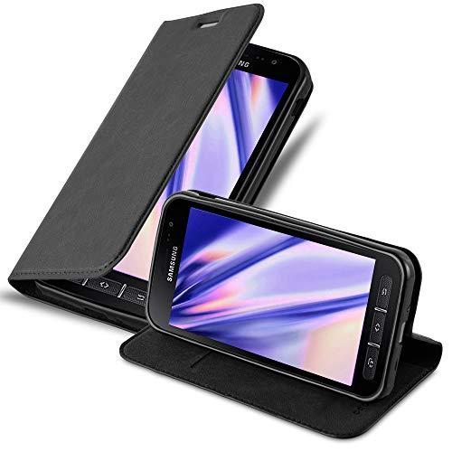 Cadorabo Hülle für Samsung Galaxy Xcover 4 - Hülle in Nacht SCHWARZ - Handyhülle mit Magnetverschluss, Standfunktion und Kartenfach - Case Cover Schutzhülle Etui Tasche Book Klapp Style