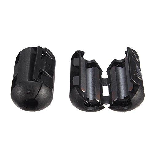 Anddod 5Pcs 9mm Black Cable Wire Snap Clamp Clip RFI EMI EMC Noise Filters Ferrite Core Case Ferrit-snap