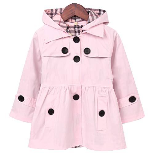 ARAUS Mädchen Mantel Herbst Winter Klassische Jacke Klein mädchen Lang Windjacke mit Kapuze Baumwolle Trenchcoat Rosa Gr.100 -