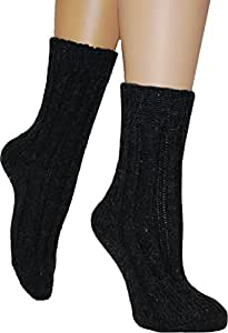 4 Paar Sehr warme Alpaka Wollsocken für Damen und Herren - wie handgestrickt waschmaschienenfest Farbe Anthrazit Größe 35/38