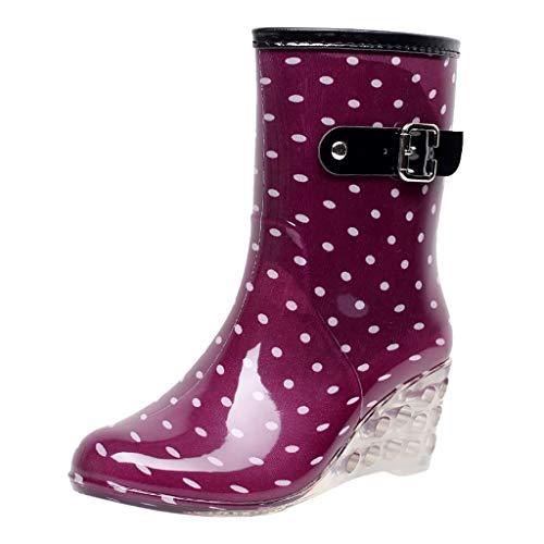 YWLINK Botas De Lluvia Mujer Hunter Zapatos CuñA Botas De Lluvia Hebilla...