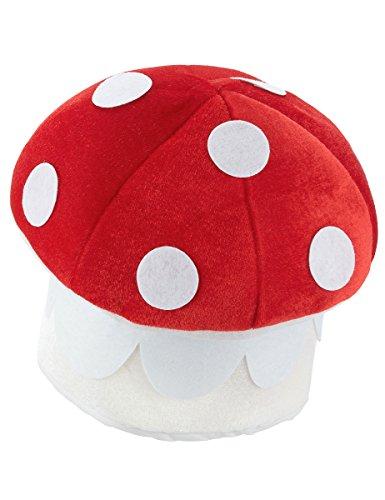 Este sombrero de seta es para adulto.Representa a la seta amanita con gomaespuma.El contorno de cabeza es de 60 cm aproximadamente.Completa tus disfraces del bosque con este sombrero original.