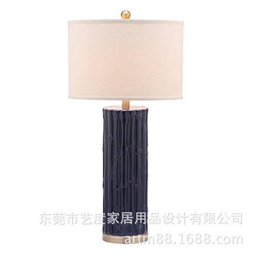 KAI-Keramische Lampe weiße gerade Hotel blue Bambus Keramik,Navy blue (Navy Keramik)