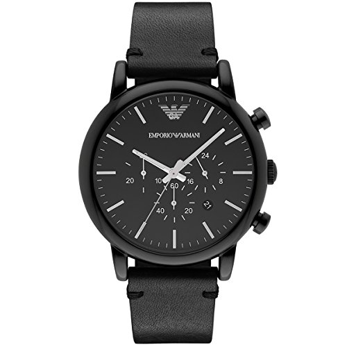Emporio Armani Men's Quartz Watch with Black Dial Analogue Display and Black Leather Bracelet AR1918