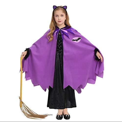 thematys Hexenkleid Hexen Kostüm-Set für Kinder - perfekt für Fasching, Karneval & Cosplay - Verschiedene Größen (Lila Und Schwarze Fee Kostüm)