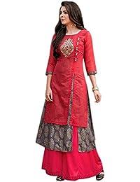 BEST Designer party wear rayon kurtis for womens - LATEST bollywood gown style new design kurti ladies HEAVY work long anarkali fancy dress 20 years girls by Looks Good_(TM-D2BQ-IDQ4)
