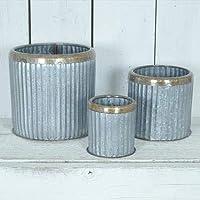 Annibells round galvanised copper rim planters (Large)