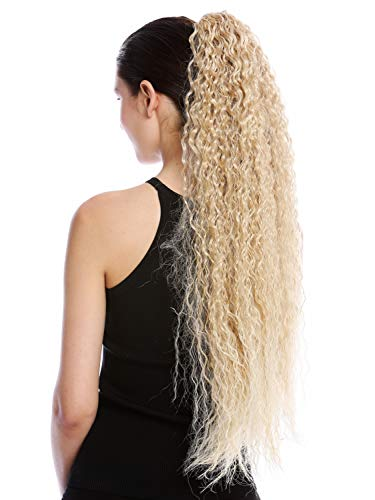 WIG ME UP - N857-V-24BT613 Haarteil Zopf Pferdeschwanz extrem lang voluminös lockig Krepplocken gekreppt Afro Kinks Blond Platin Gesträhnt 75 cm