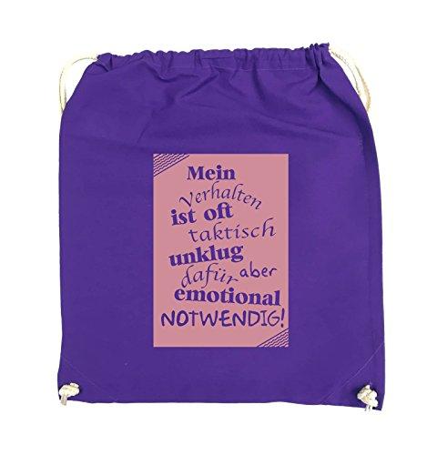 Comedy Bags - Mein Verhalten ist oft taktisch unklug - ZETTEL - Turnbeutel - 37x46cm - Farbe: Schwarz / Silber Lila / Rosa