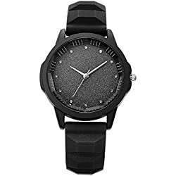 JSDDE Uhren,Fashion Damen Armbanduhr Strass Glitzer Dial Silikon-Band Ladies Dress Analog Sport Quarzuhr,schwarz