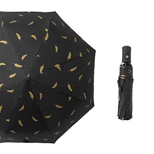 LYJZH Mini Schirm: Mini-Regenschirm mit Transporthülle, extraleicht & superkompakt Dreifachgefalteter automatischer Regenschirm aus schwarzem Kunststoff, frische Regenschirmfarbe19 97cm