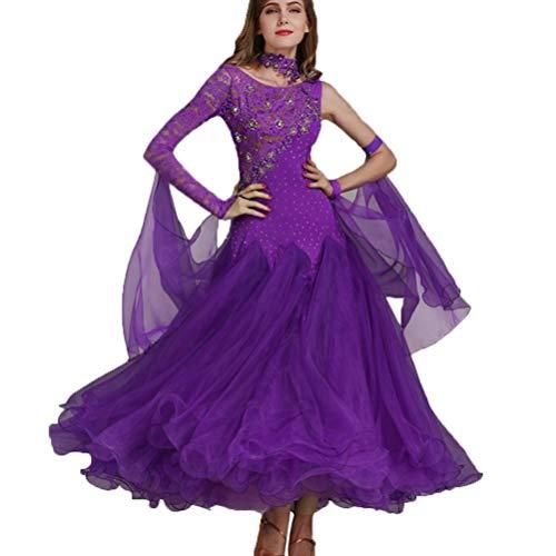 eid Für Frauen Modern Dance Competition Kleider Waltz Große Swing Rock Performance Kostüm (Color : Purple, Size : XXL) ()