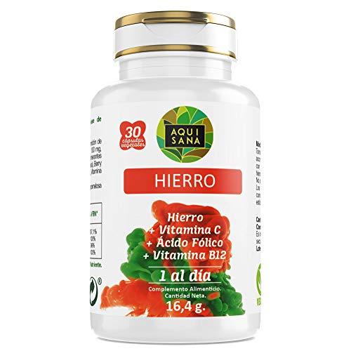 Aquisana - Hierro + Ácido Fólico, Suplemento Alimenticio con Vitamina C y Vitamina B12,...