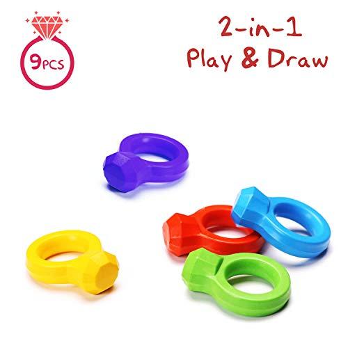 2-in-1-Finger-Zeichenstifte für Kleinkinder, 9 Farben Malstifte für Kinder, Non-Toxic-Baby-Zeichenstiften Waschbar und unzerbrechlich, Palm Grip Stapelbare Zeichenstifte für