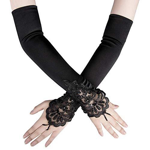 Ruiuzi Long Flapper Abendoper Hochzeiten Satin Handschuhe 1920er Jahre Handschuhe Ellenbogenlänge 15 '/ 21' für Frauen (17.7 Inches-schwarz) (Burlesque Stil Kostüm)