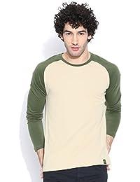 Cult Fiction L-beige Color Round Neck Tshirts For Men