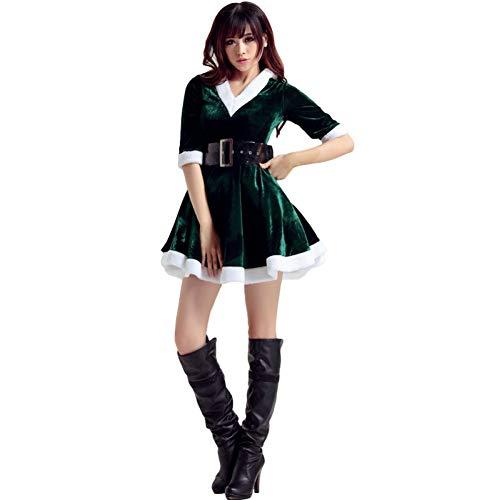 Unbekannt FAFY Weihnachten GSDZN - Weihnachtsmann Damen Kostüm, Gürtel, Kleid, Santa, Weihnachten, Einheitsgröße, Passend S-XL,Green